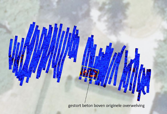 grondradarscan voor opzoeking van overwelving